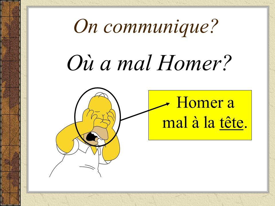 On communique Où a mal Homer Homer a mal à la tête.