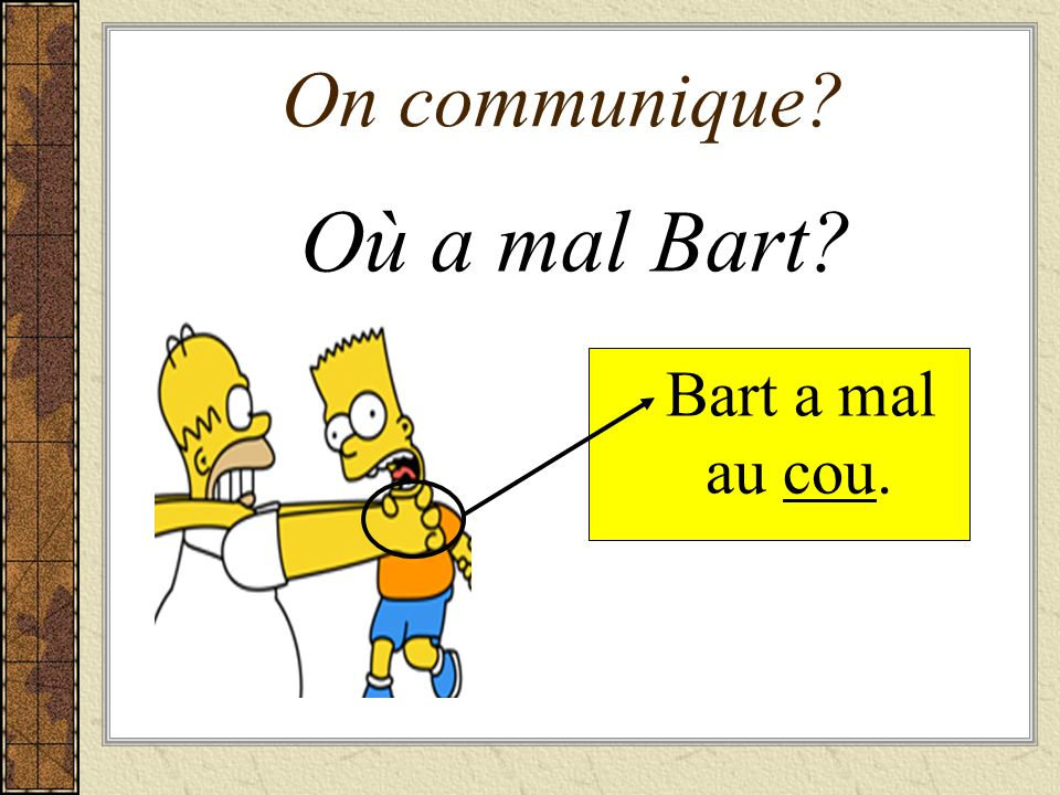 On communique Où a mal Bart Bart a mal au cou.