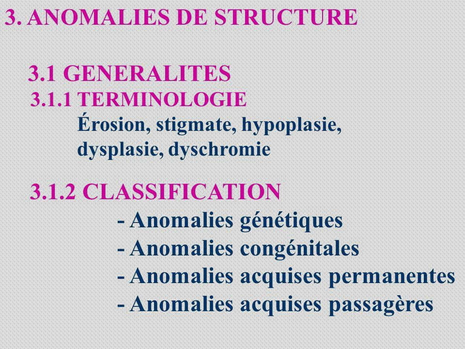 3. ANOMALIES DE STRUCTURE 3.1 GENERALITES