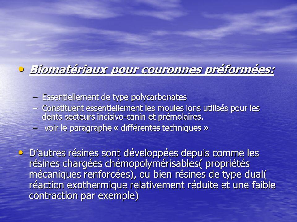 Biomatériaux pour couronnes préformées: