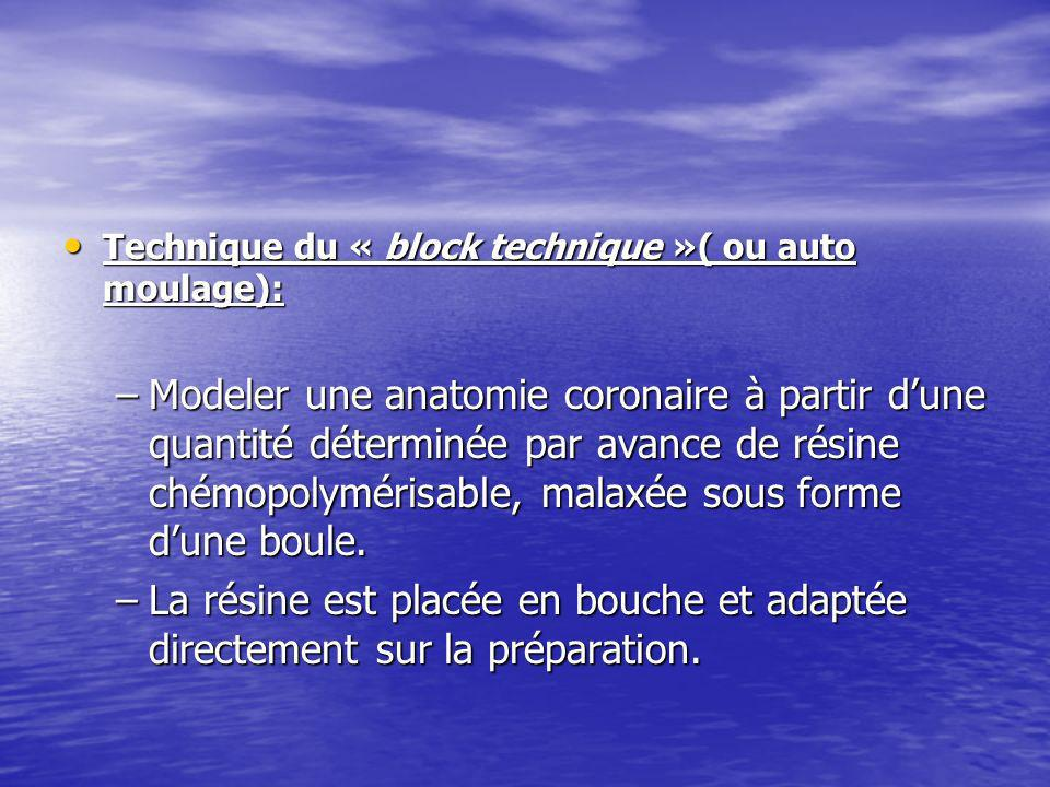 Technique du « block technique »( ou auto moulage):
