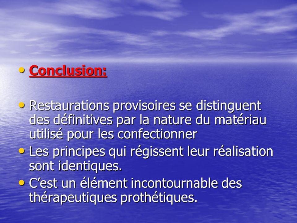 Conclusion: Restaurations provisoires se distinguent des définitives par la nature du matériau utilisé pour les confectionner.