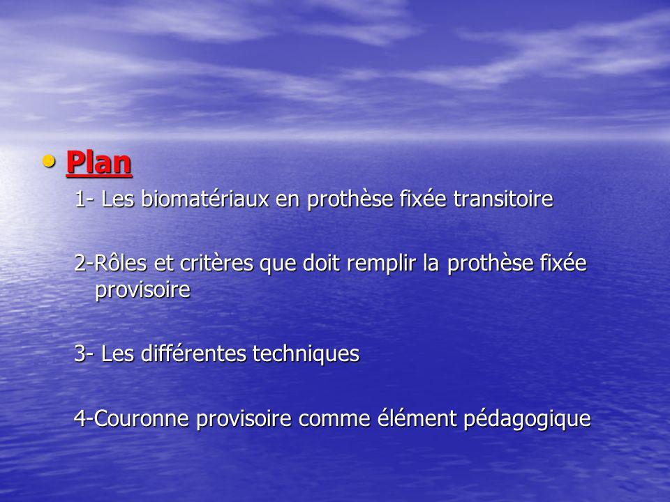 Plan 1- Les biomatériaux en prothèse fixée transitoire