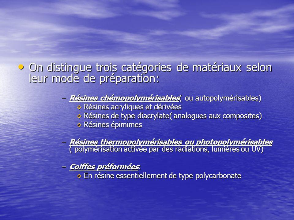 On distingue trois catégories de matériaux selon leur mode de préparation: