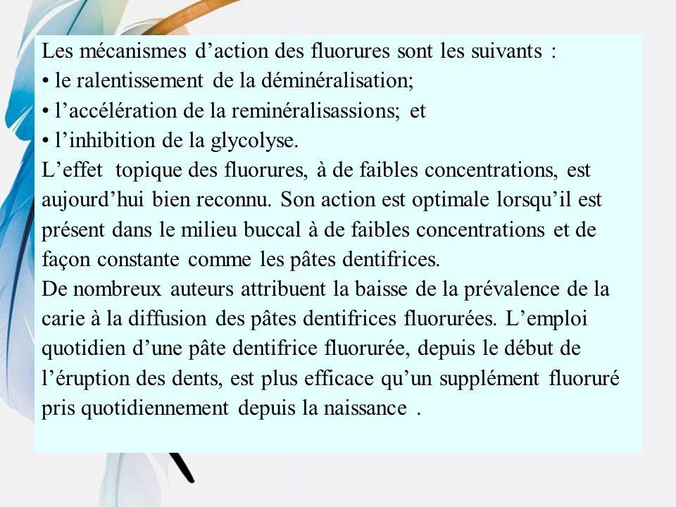 Les mécanismes d'action des fluorures sont les suivants :