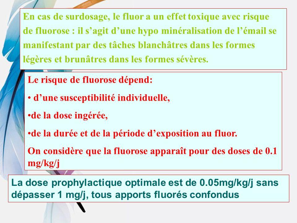 En cas de surdosage, le fluor a un effet toxique avec risque