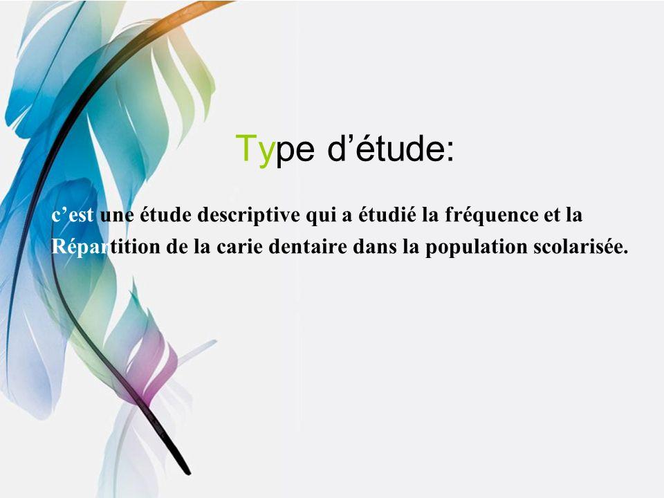 Type d'étude: c'est une étude descriptive qui a étudié la fréquence et la.