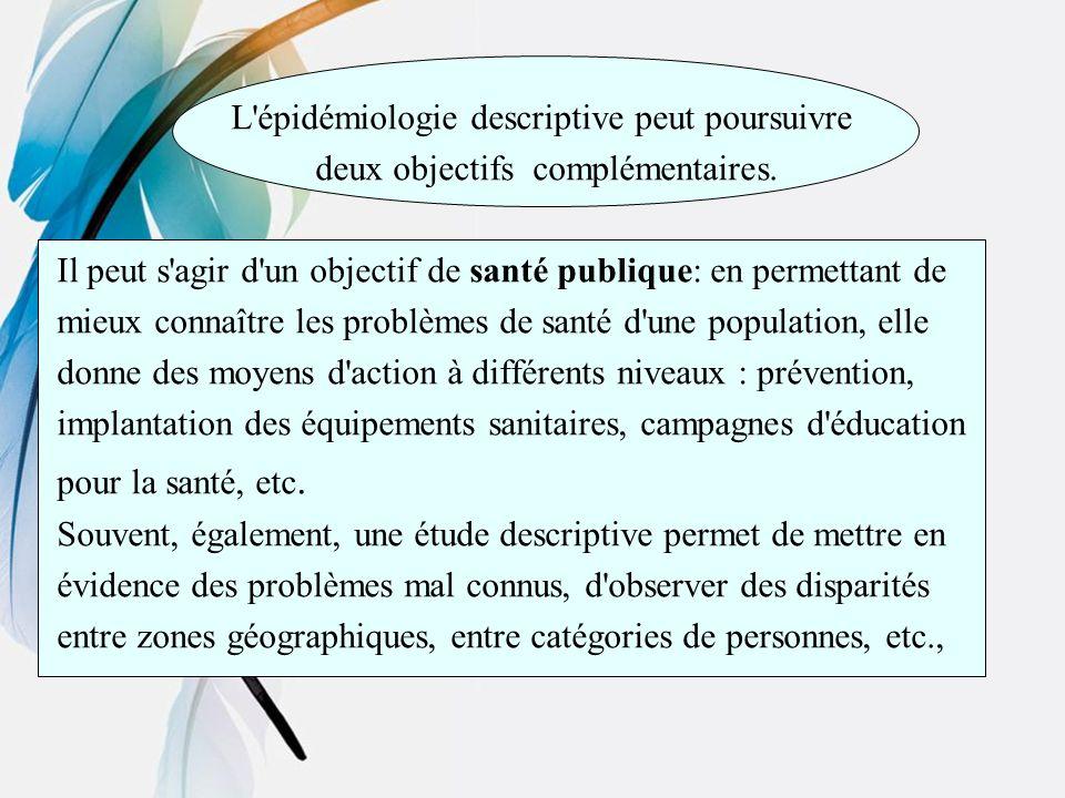 L épidémiologie descriptive peut poursuivre