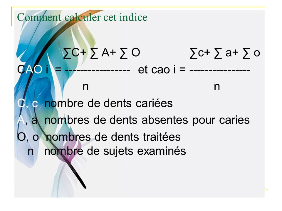 Comment calculer cet indice