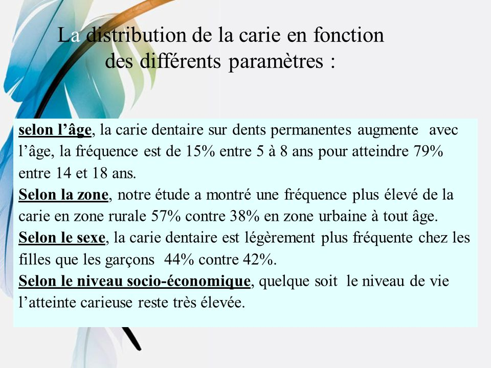 La distribution de la carie en fonction des différents paramètres :