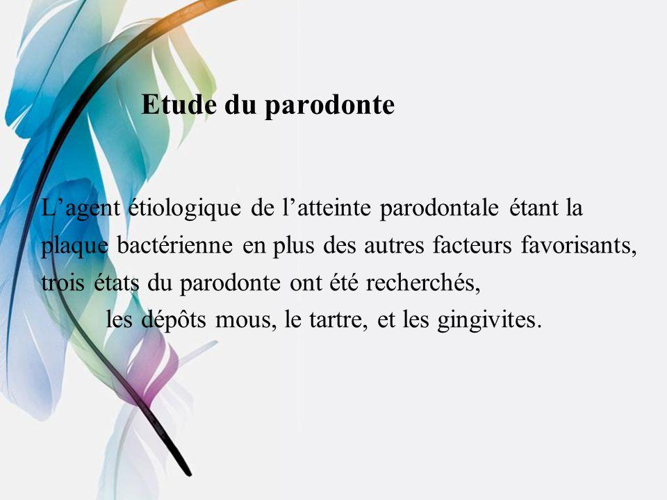 Etude du parodonte L'agent étiologique de l'atteinte parodontale étant la. plaque bactérienne en plus des autres facteurs favorisants,