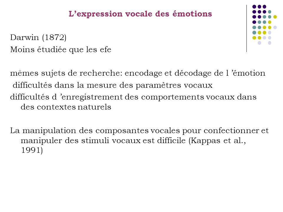 L'expression vocale des émotions