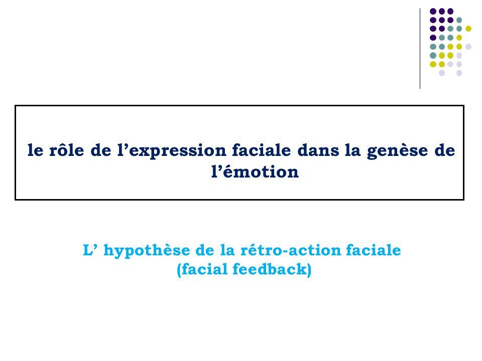 le rôle de l'expression faciale dans la genèse de l'émotion