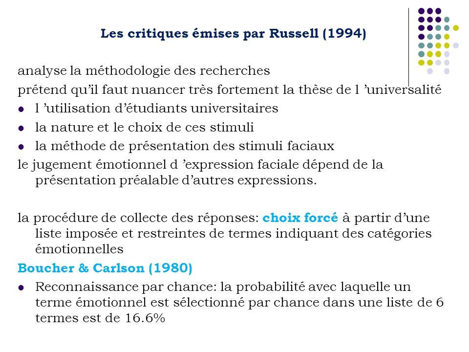 Les critiques émises par Russell (1994)