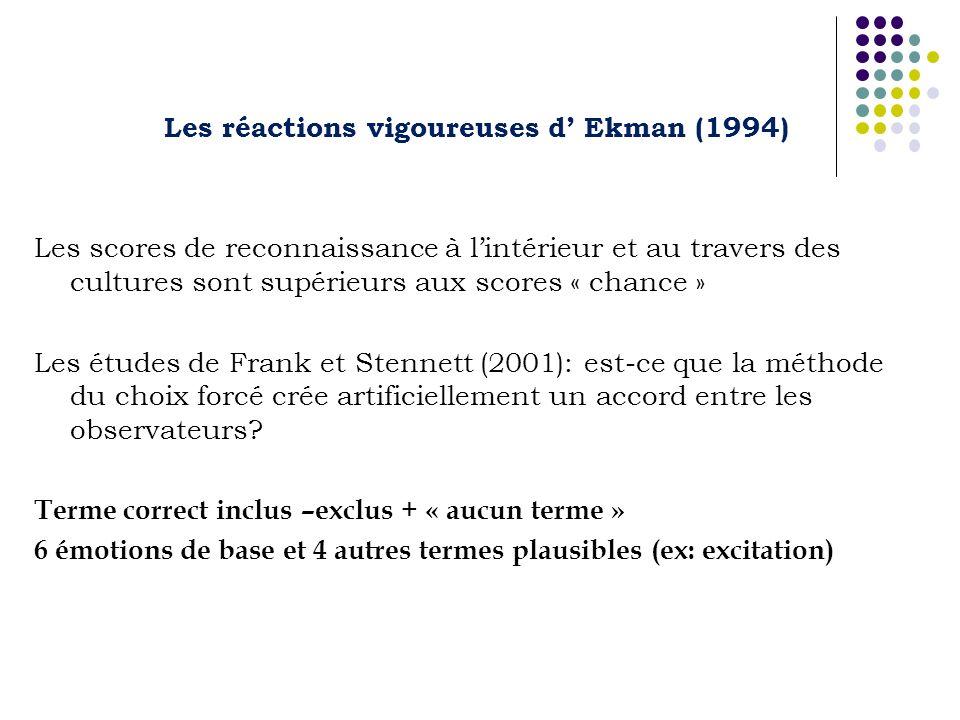 Les réactions vigoureuses d' Ekman (1994)