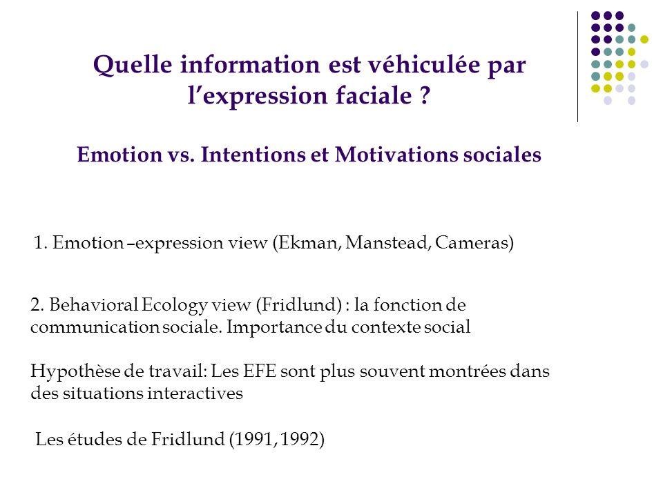 Quelle information est véhiculée par l'expression faciale