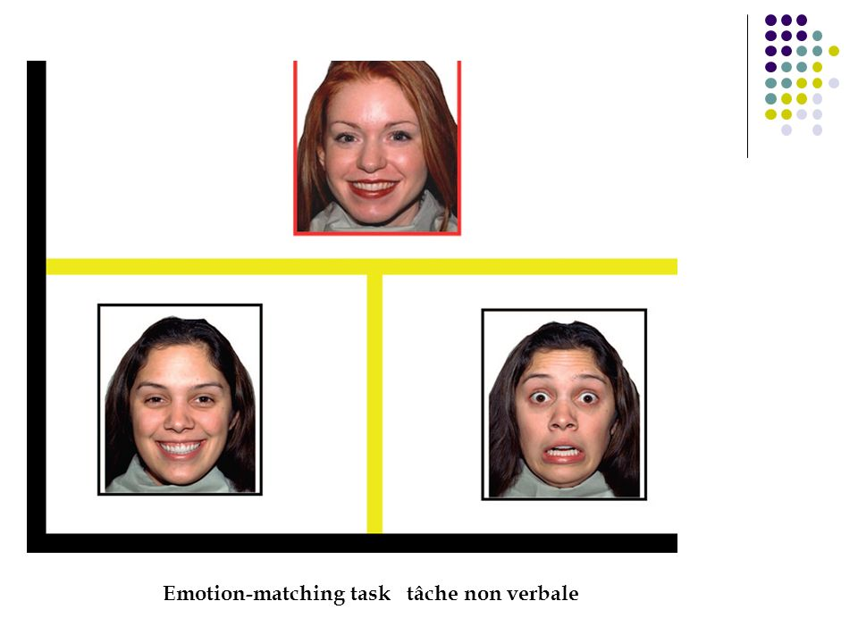 Emotion-matching task tâche non verbale