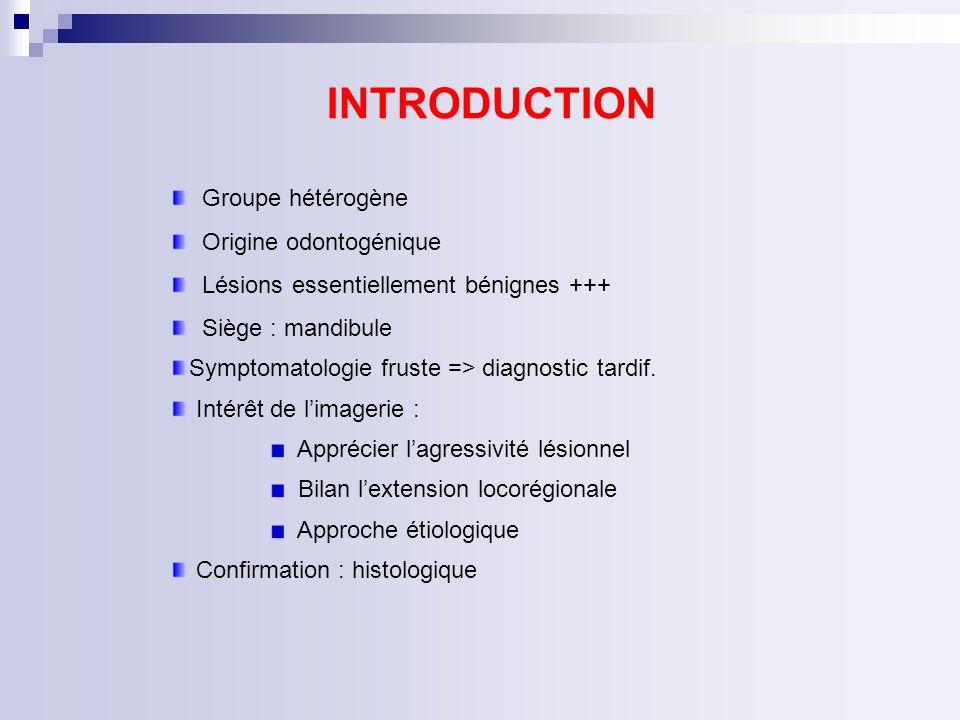 INTRODUCTION Groupe hétérogène Origine odontogénique
