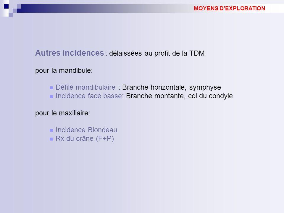 Autres incidences : délaissées au profit de la TDM