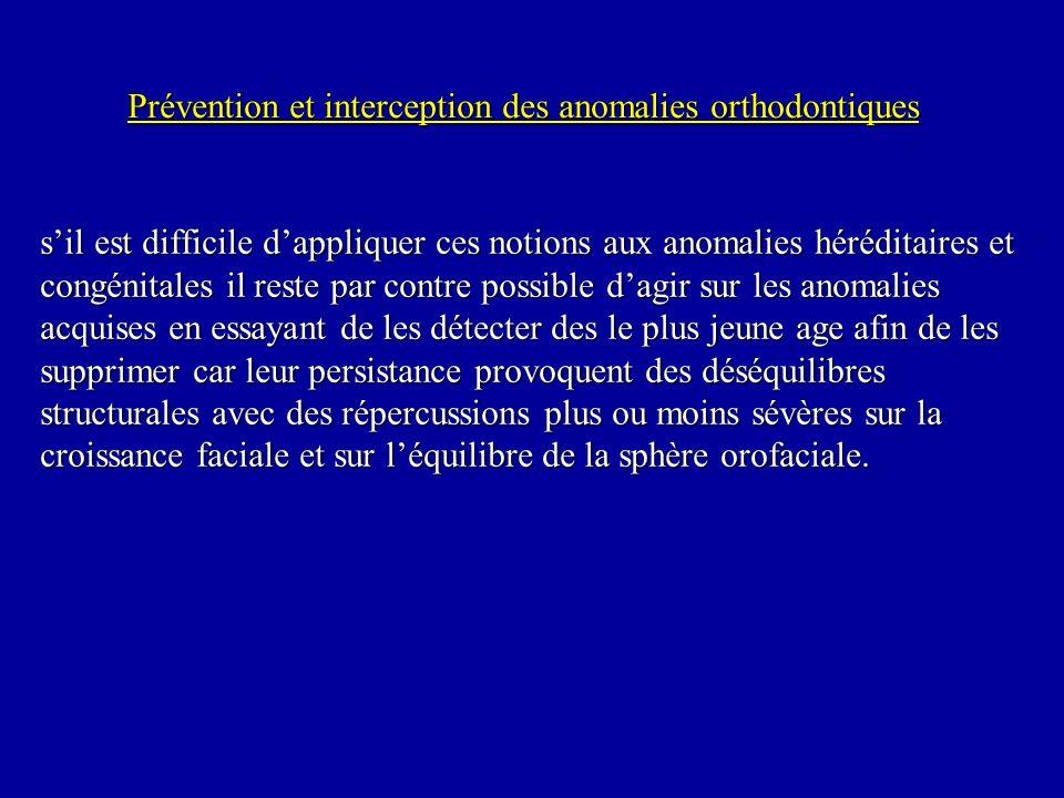 Prévention et interception des anomalies orthodontiques