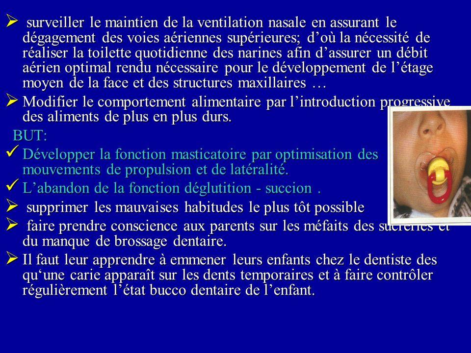 surveiller le maintien de la ventilation nasale en assurant le dégagement des voies aériennes supérieures; d'où la nécessité de réaliser la toilette quotidienne des narines afin d'assurer un débit aérien optimal rendu nécessaire pour le développement de l'étage moyen de la face et des structures maxillaires …