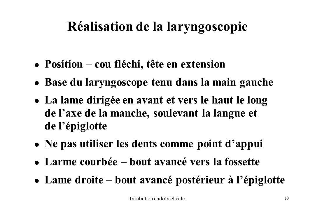 Réalisation de la laryngoscopie