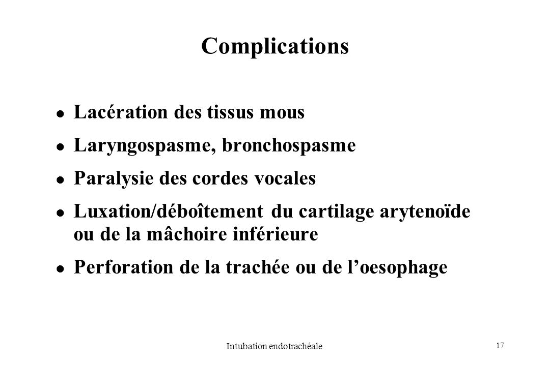 Intubation endotrachéale