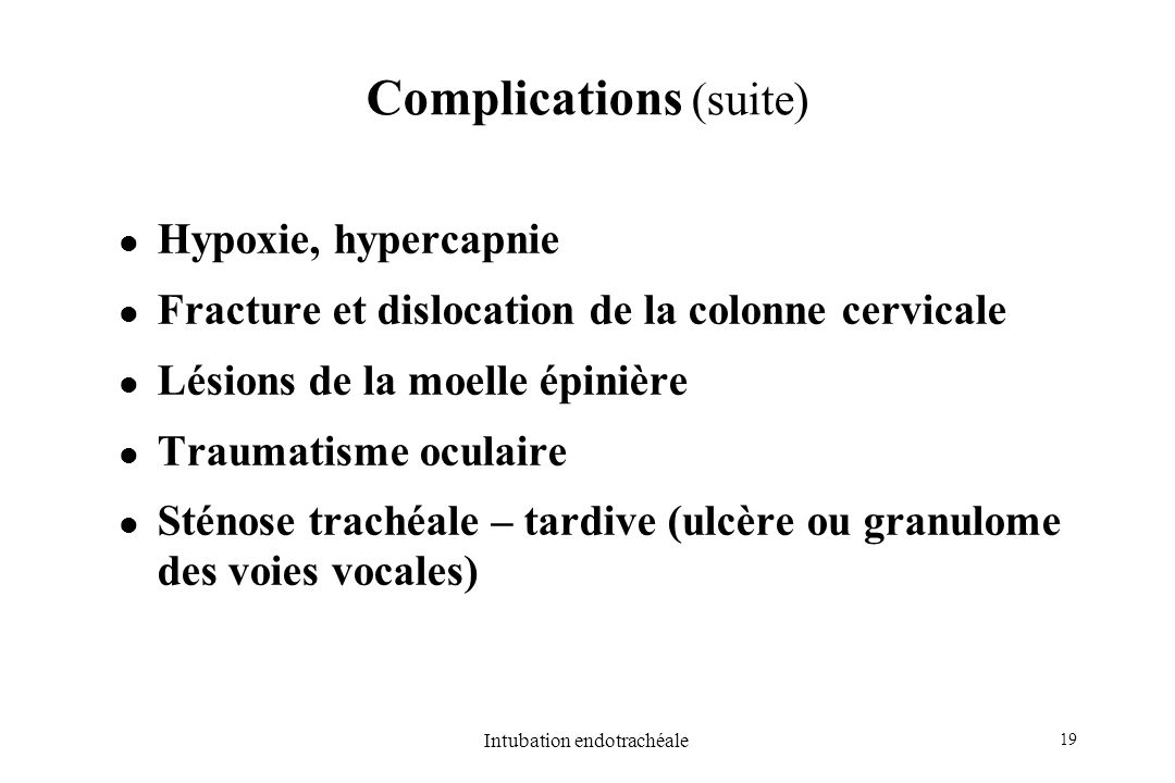 Complications (suite)