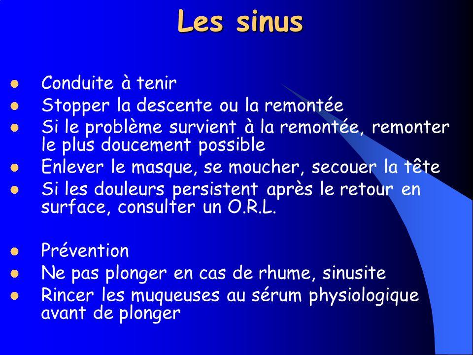Les sinus Conduite à tenir Stopper la descente ou la remontée
