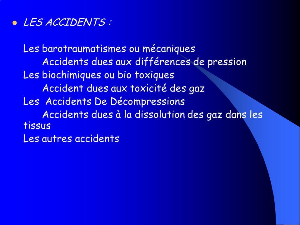LES ACCIDENTS : Les barotraumatismes ou mécaniques. Accidents dues aux différences de pression. Les biochimiques ou bio toxiques.
