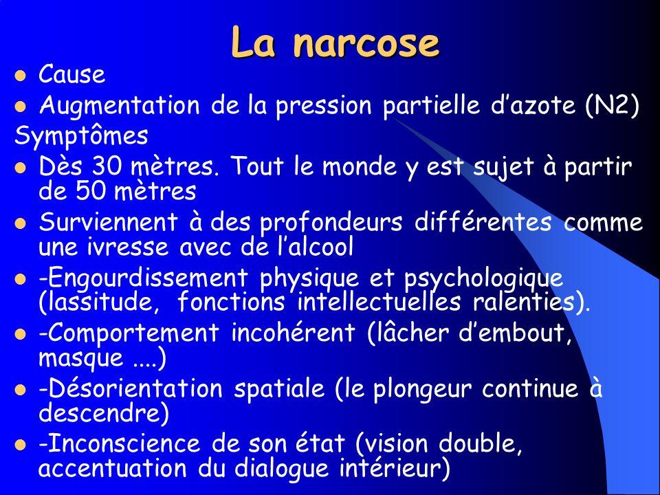 La narcose Cause Augmentation de la pression partielle d'azote (N2)
