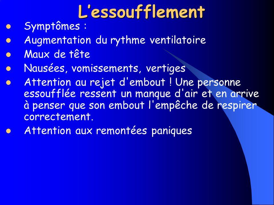 L'essoufflement Symptômes : Augmentation du rythme ventilatoire