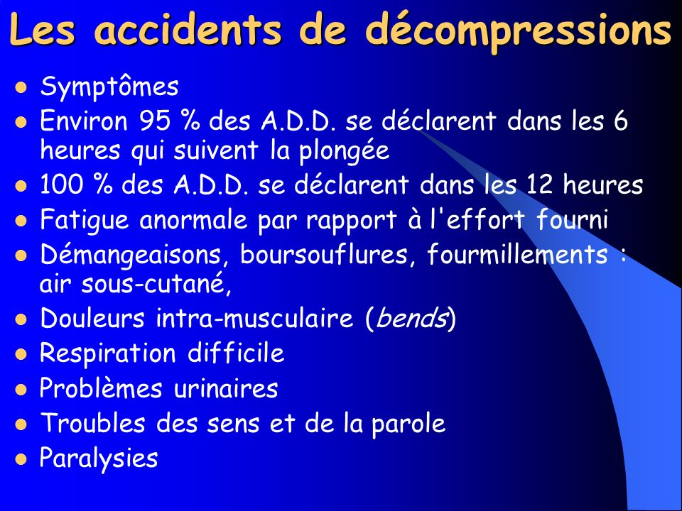 Les accidents de décompressions