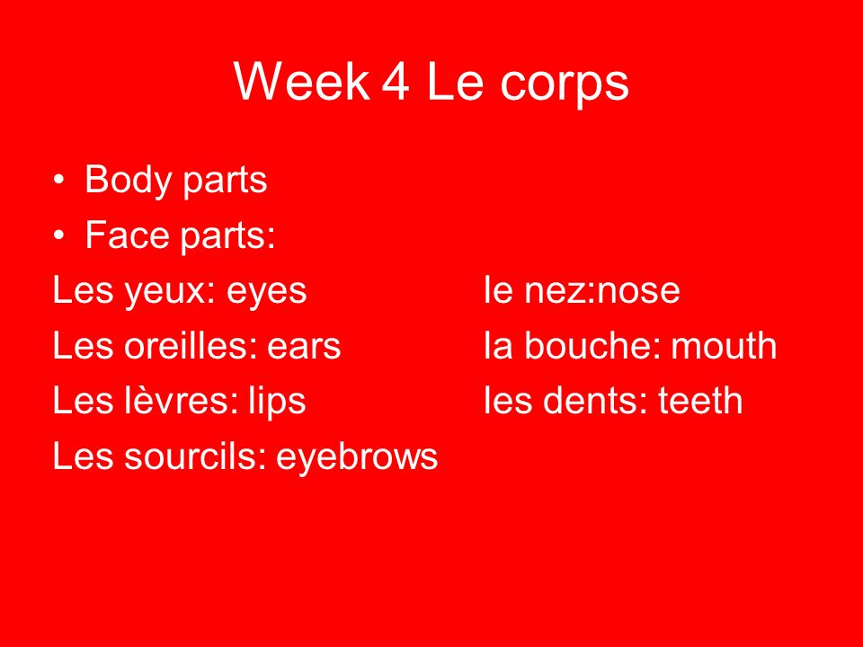 Week 4 Le corps Body parts Face parts: Les yeux: eyes le nez:nose