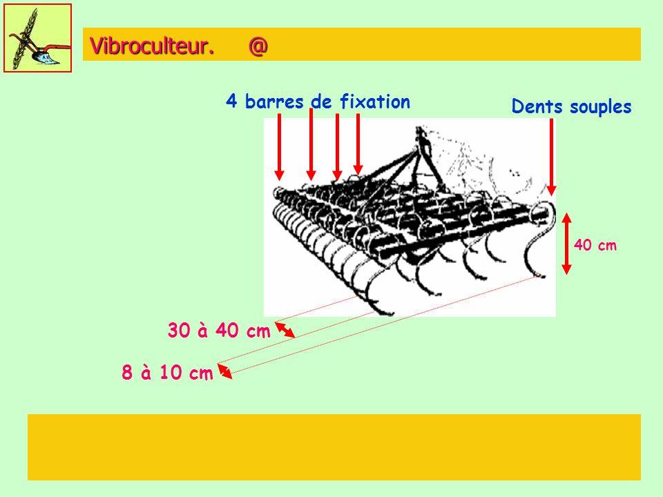 Vibroculteur. @ 4 barres de fixation Dents souples 30 à 40 cm