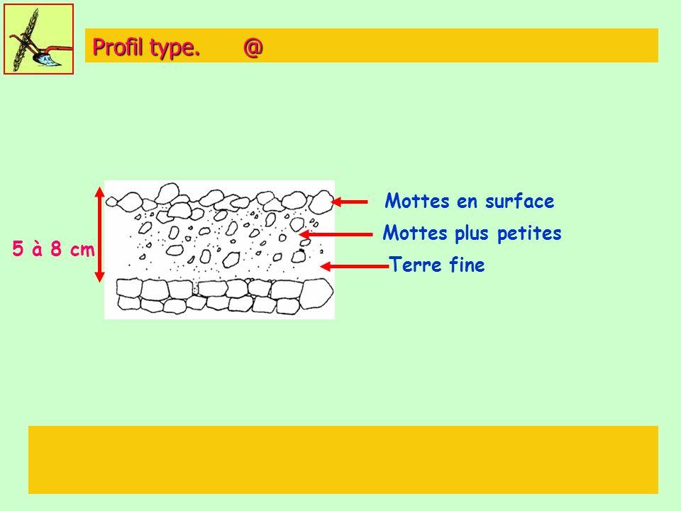 Profil type. @ Mottes en surface Mottes plus petites 5 à 8 cm
