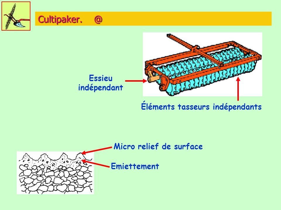Éléments tasseurs indépendants Micro relief de surface