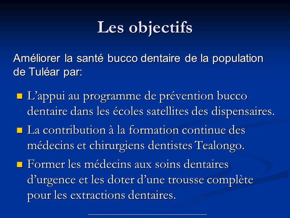 Les objectifs Améliorer la santé bucco dentaire de la population de Tuléar par: