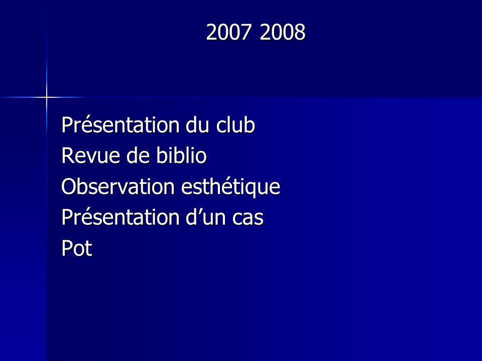 2007 2008 Présentation du club Revue de biblio Observation esthétique Présentation d'un cas Pot