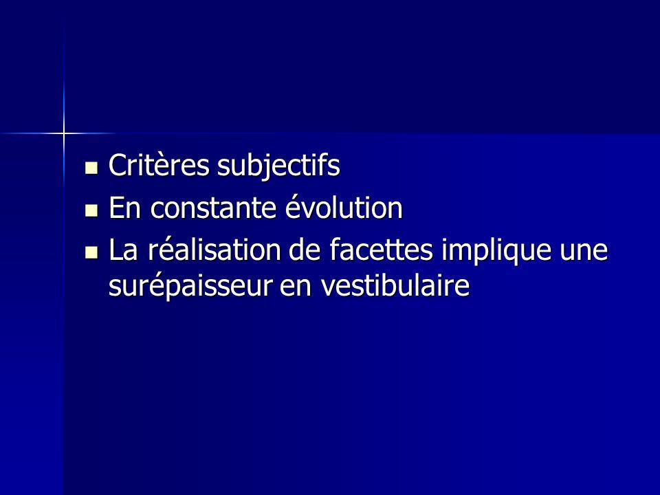 Critères subjectifs En constante évolution.