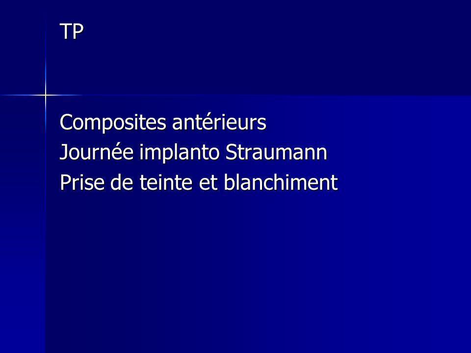 TP Composites antérieurs Journée implanto Straumann Prise de teinte et blanchiment