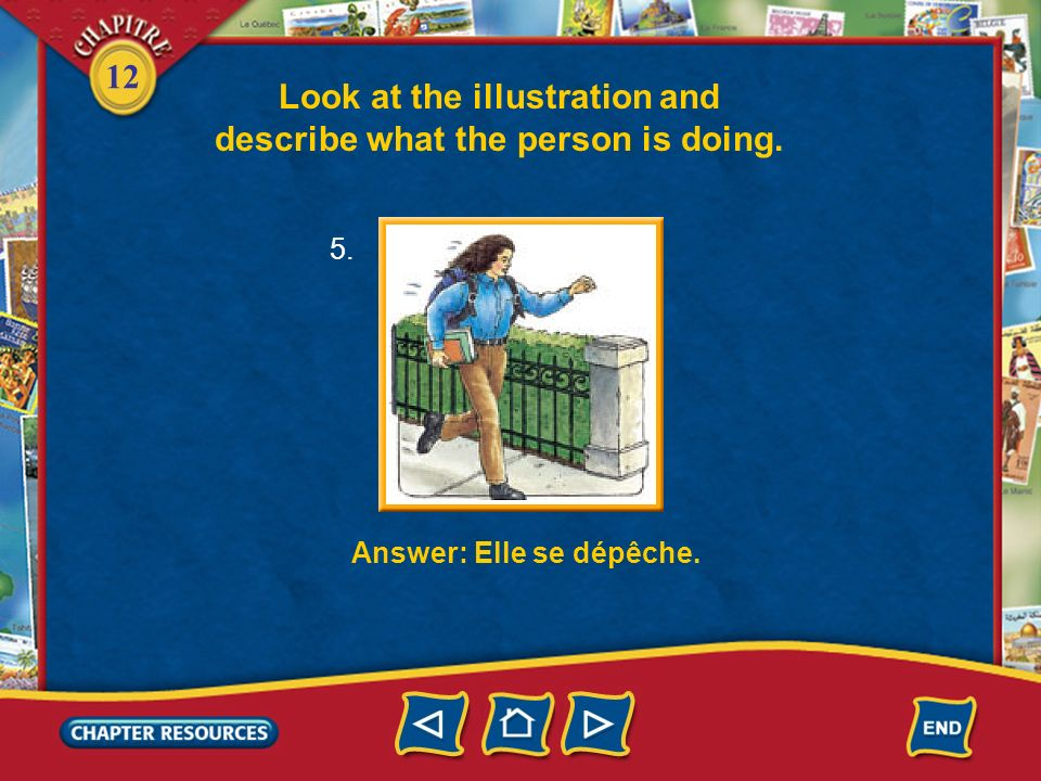 Look at the illustration and describe what the person is doing.