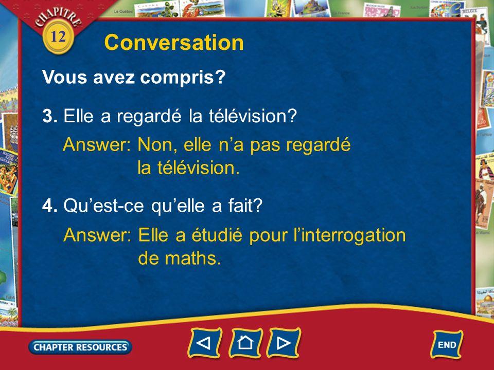 Conversation Vous avez compris 3. Elle a regardé la télévision