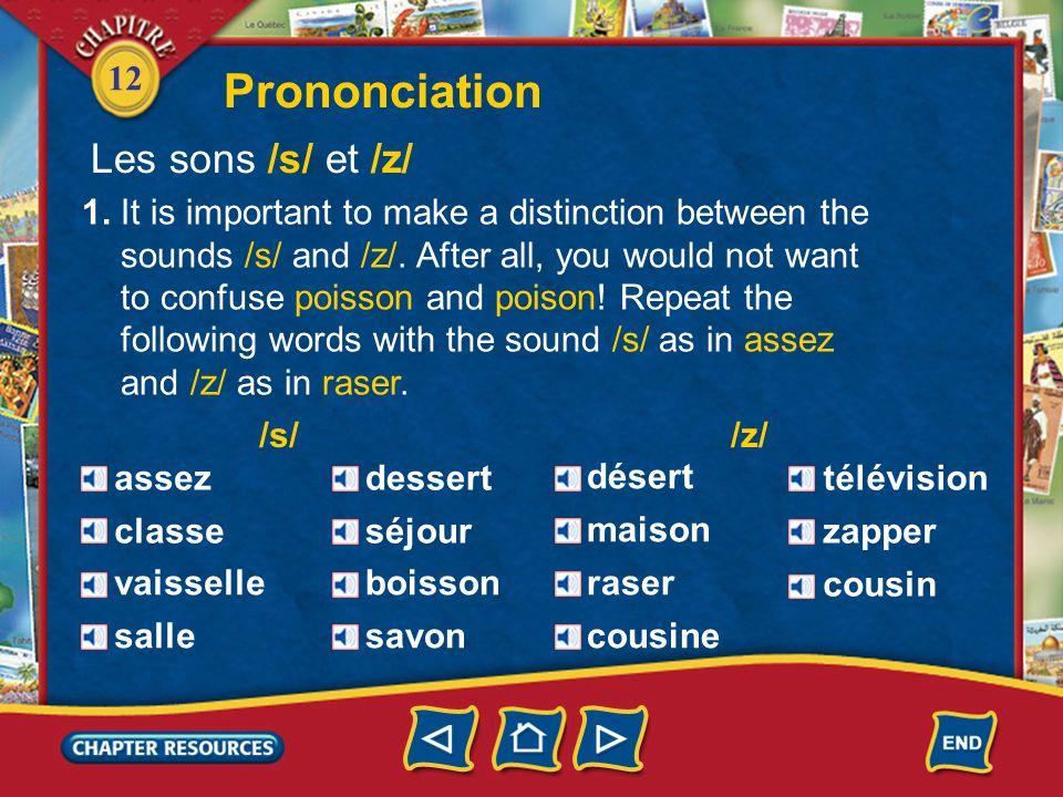 Prononciation Les sons /s/ et /z/