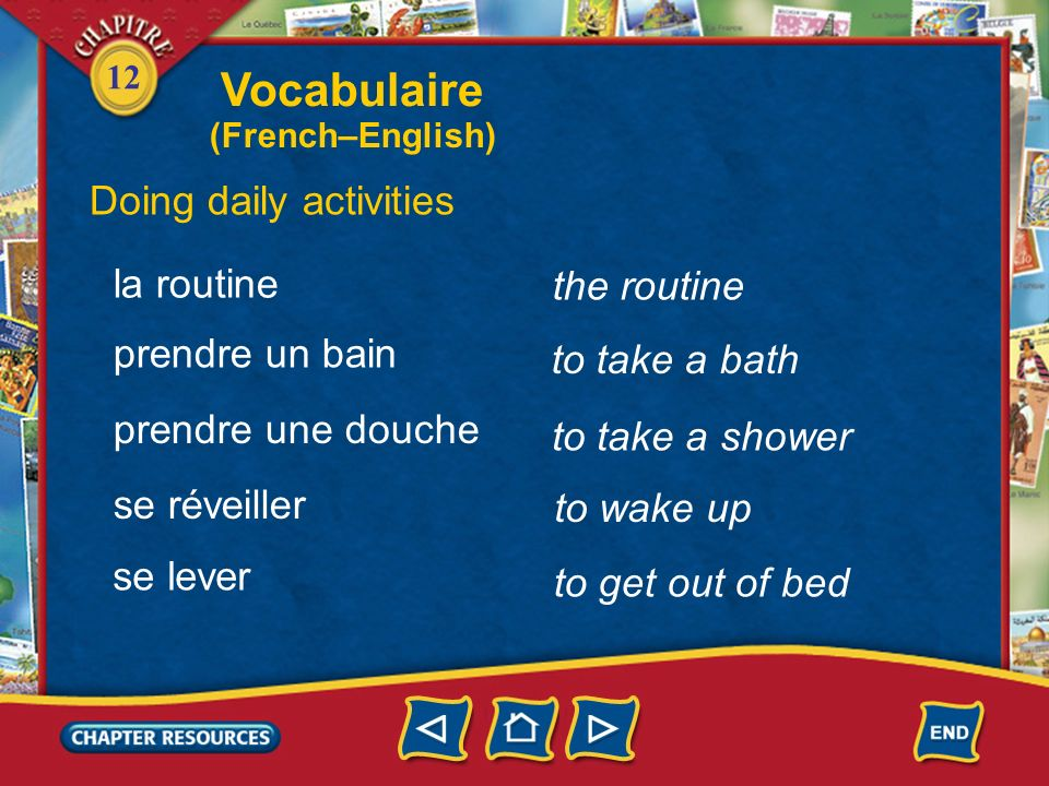 Vocabulaire Doing daily activities la routine the routine