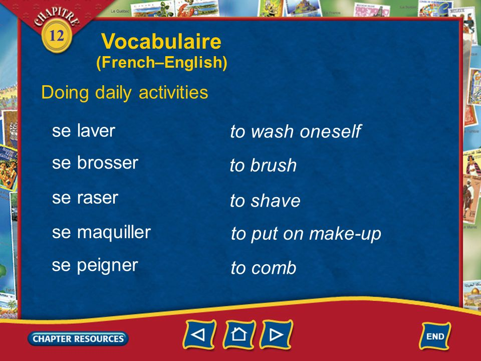 Vocabulaire Doing daily activities se laver to wash oneself se brosser