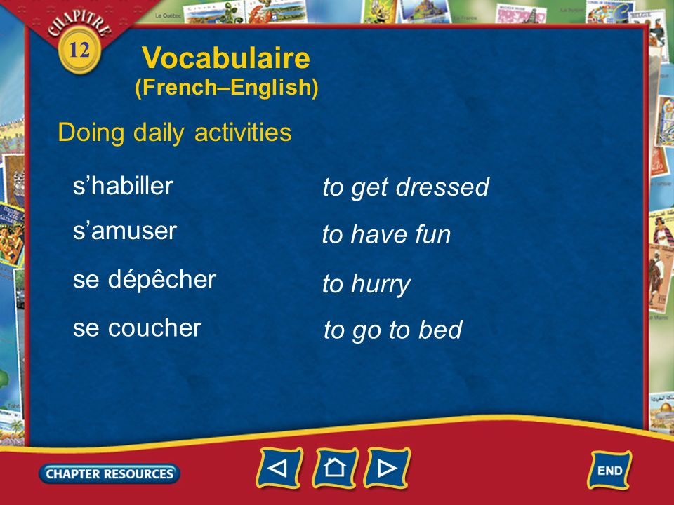 Vocabulaire Doing daily activities s'habiller to get dressed s'amuser