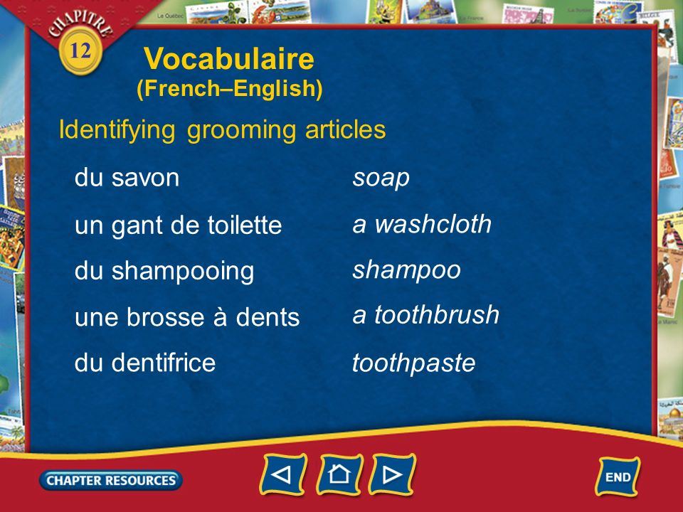 Vocabulaire Identifying grooming articles du savon soap