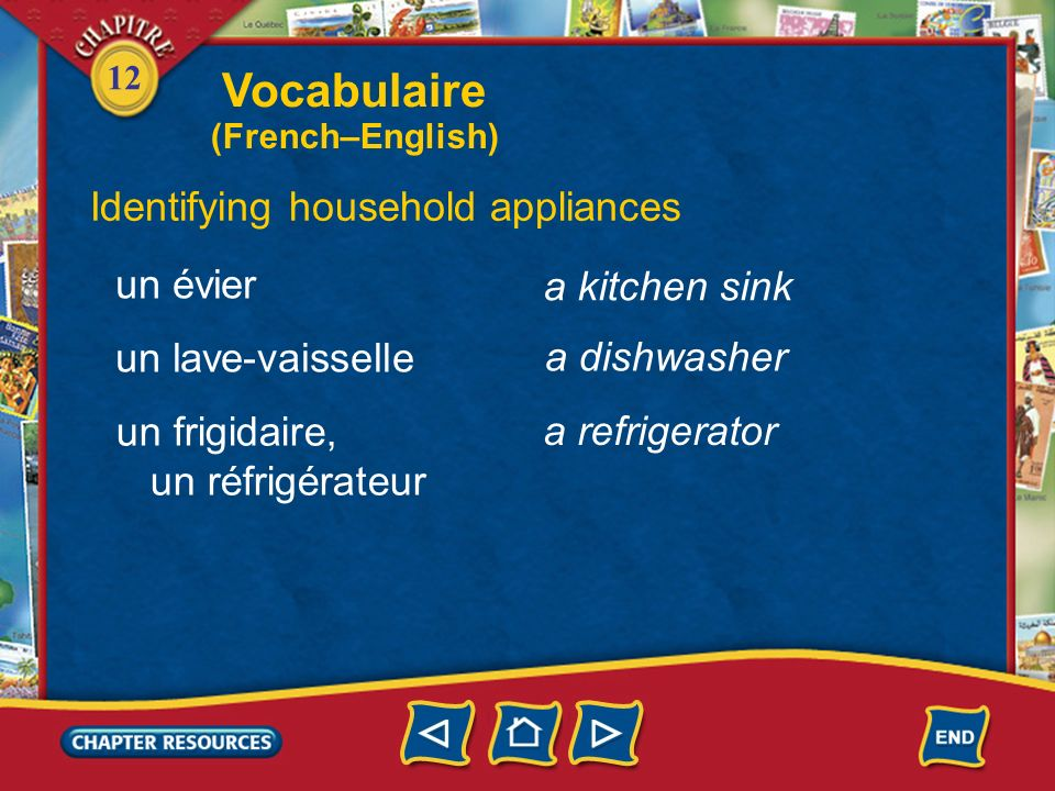Vocabulaire Identifying household appliances un évier a kitchen sink