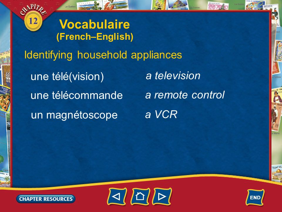 Vocabulaire Identifying household appliances une télé(vision)